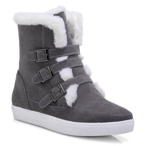 Store Casual Suede Buckle Straps Short Boots GRAY 39