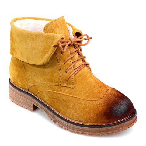 Affordable Fold Down Suede Lace-Up Short Boots