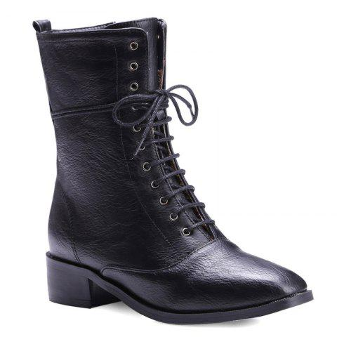 Discount Lace-Up Eyelet PU Leather Combat Boots BLACK 39