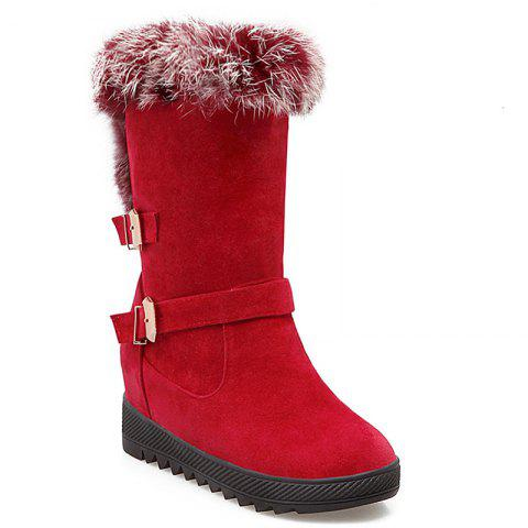 Buckles Faux Fur Hidden Wedge Snow Boots - Red - 40