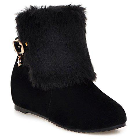black buckle faux fur wedge boots rosegal