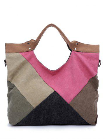 Store Color Splicing Patchwork Canvas Tote Bag