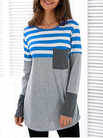Patchwork Striped Long Sleeve Asymmetric T-Shirt - Blue - M