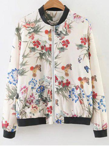Outfit Stand Neck Floral Print Bomber Jacket