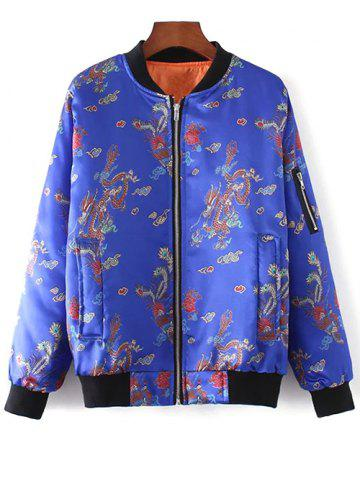 Shop Chinese Dragon and Phoenix Print Padded Jacket
