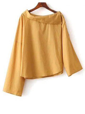 Unique Buttoned Asymmetric Blouse YELLOW M