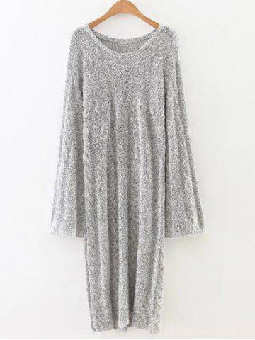 New Marled Cable Knit Side Slit Long Sweater