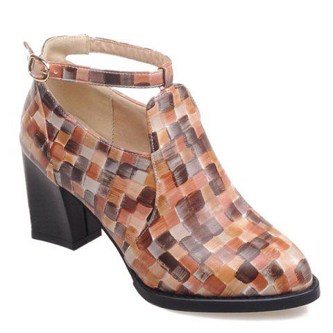 Outfits Colour Block Plaid Pattern PU Leather Pumps BROWN 40