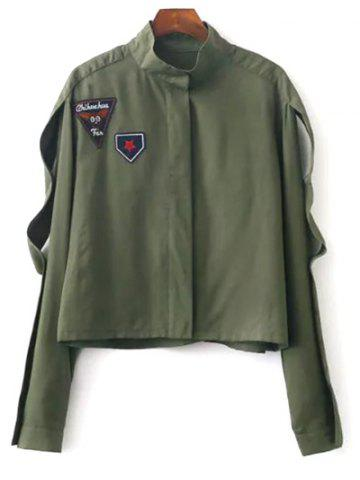 Hot Stand Neck Patchwork Cropped Jacket ARMY GREEN M