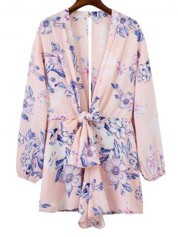 Buy Plunging Neck Back Cut Out Floral Romper