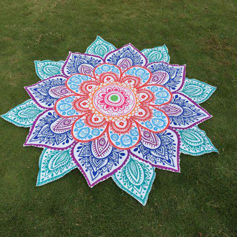 Multicolor Indian Mandala Paisley Lotus Shape Beach Throw - Blue - One Size
