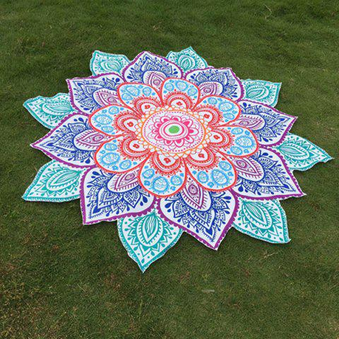 Latest Multicolor Indian Mandala Paisley Lotus Shape Beach Throw - ONE SIZE BLUE Mobile