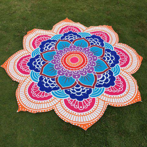 Trendy Multicolor Indian Mandala Lotus Shape Beach Throw