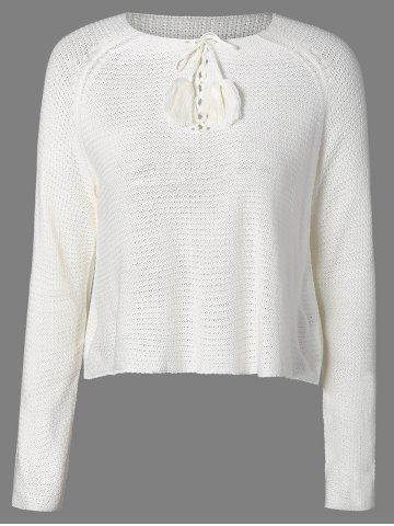Cheap Lace-Up Fringed Sweater