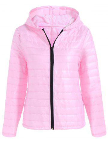 Online Slim Quilted Winter Jacket with Hood PINK M