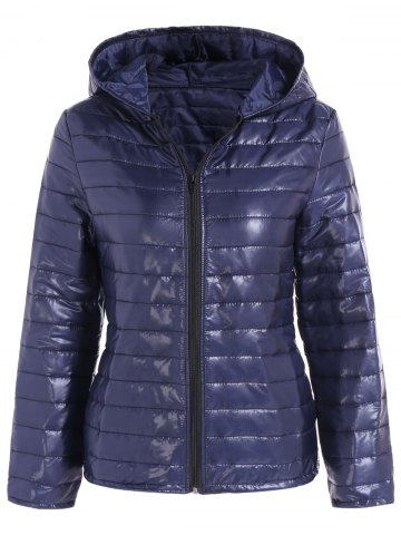 Deep Blue M Slim Quilted Winter Jacket With Hood | RoseGal.com