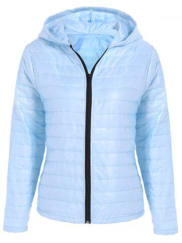 Buy Hooded Quilted Jacket - Light Blue M