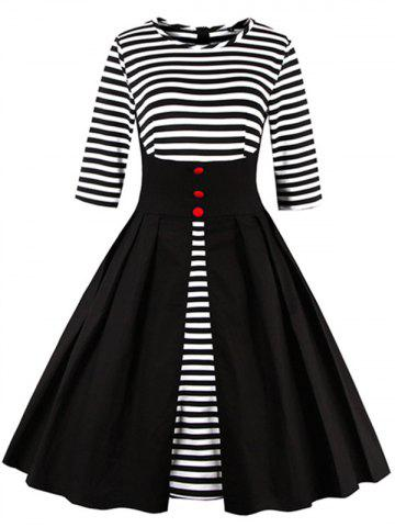 Affordable Midi Striped Formal Skater Cocktail Dress BLACK S