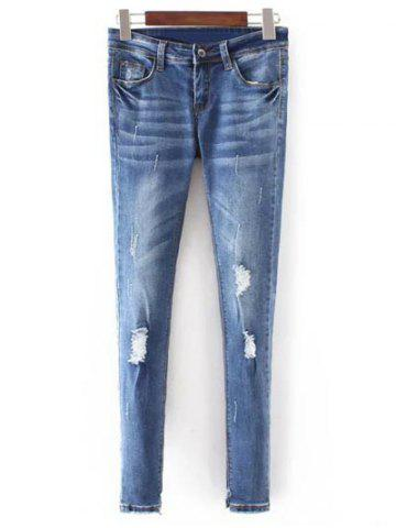 Hot Slim Fit Distressed Jeans BLUE S