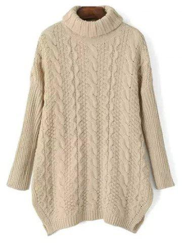 Cheap Turtle Neck Side Split Cable Knit Sweater