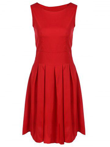 Latest Scoop Neck Vintage Cocktail Swing Dress RED XL