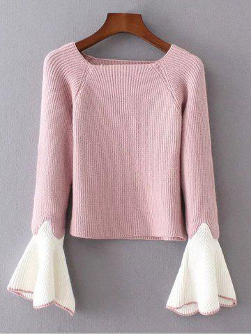 Fashion Bell Sleeve Boat Neck Jumper PINK ONE SIZE