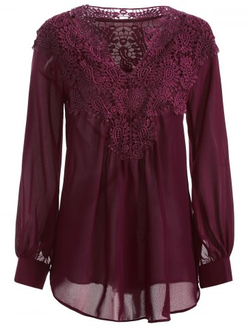 Long Sleeve Crochet Detail Lace Tunic Blouse - WINE RED XL