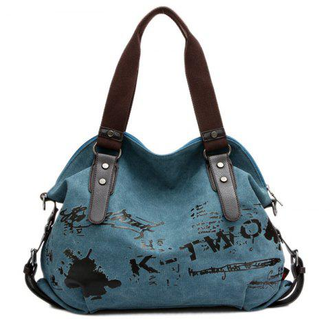 Trendy Buckles Colour Block Letter Printed Canvas Bag LAKE BLUE