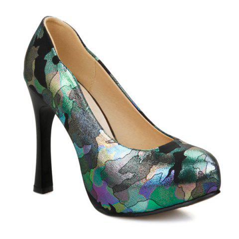 Sale Chunky Heel PU Leather Printed Pumps