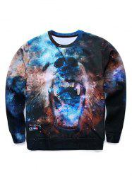 3D Fierce Bear Starry Sky Print Round Neck Long Sleeve Sweatshirt