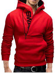 IZZUMI Long Sleeve Pocket Front Side Half-Zip Up Hoodie - RED 5XL