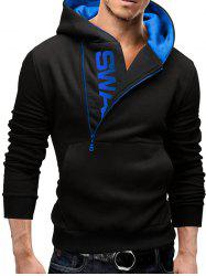 IZZUMI Long Sleeve Pocket Front Side Half-Zip Up Hoodie - BLACK AND BLUE