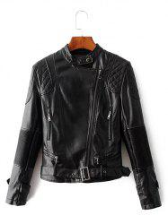 Zip Up Belted Punk Jacket - BLACK
