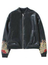 Flower Embroidered Faux Leather Bomber Jacket -