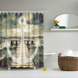 Bath Decor Sea Wave Printed Waterproof Polyester Shower Curtain -