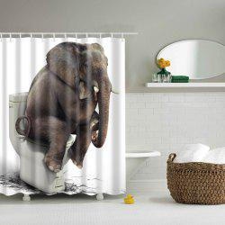 Creative Elephant On Closestool Waterproof Polyester Shower Curtain - COLORMIX L