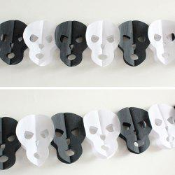 Halloween Party Paper Skull decration Prop Cutting - Blanc et Noir