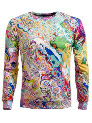 Long Sleeve Round Neck Abstract Printed Sweatshirt - COLORMIX 2XL