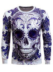 Long Sleeve Round Neck Skull 3D Printed Sweatshirt - BLUE
