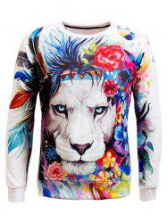 Long Sleeve Crew Neck Animal 3D Printed Sweatshirt - WHITE