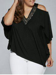 Cold Shoulder Rhinestoned Embellished Asymmetrical Blouse -