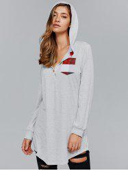 Plaid Trim Button Design Long Hoodie - LIGHT GRAY