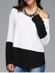 Skew Collar Knitted Pullover -
