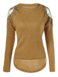 Lace Shoulder Knitted High Low Pullover -