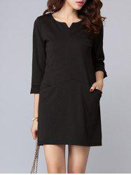 Double Pockets Mini Shift Dress -