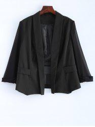 Plus Size Sheer Sleeve Blazer