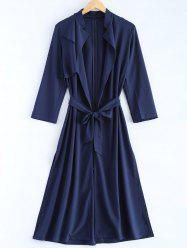 Plus Size Overlay Tie Belt Trench Coat - CADETBLUE
