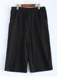 Plus Size Drawstring Wide Leg Capri Pants - BLACK