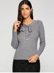 Bow Collar Slimming Knitwear -
