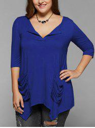Ruched Pockets Asymmetrical Blouse - ROYAL BLUE
